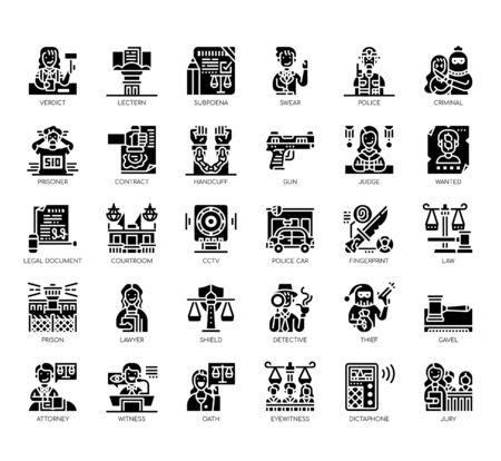 Set of law and justice thin line and pixel perfect icons for any web and app project. Vektorové ilustrace