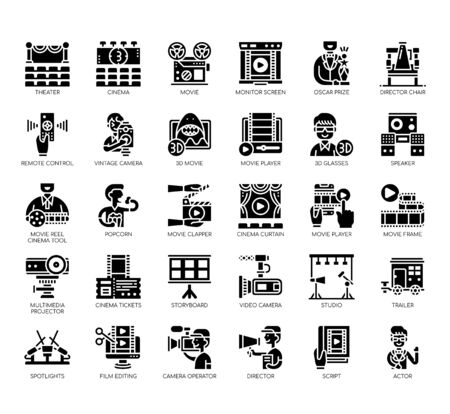 Set of cinema thin line and pixel perfect icons for any web and app project.