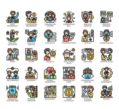Set of human resource thin line and pixel perfect icons for any web and app project.