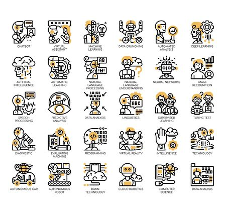 Set of artificial intelligence thin line and pixel perfect icons for any web and app project.