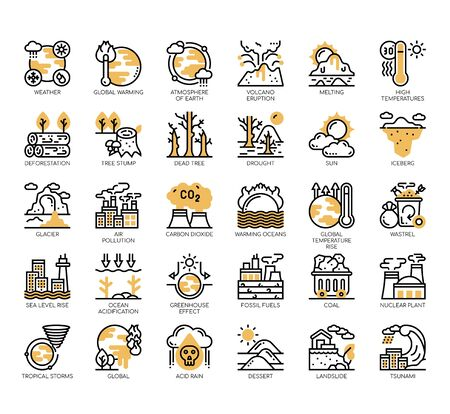 Set of climate change thin line and pixel perfect icons for any web and app project. Vektorgrafik