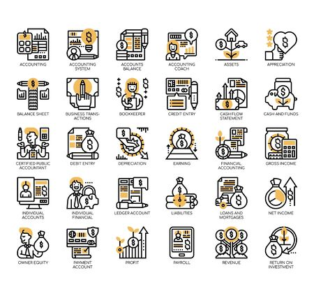 Set of accounting thin line and pixel perfect icons for any web and app project. Vector Illustration