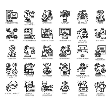 Set of robot thin line and pixel perfect icons for any web and app project.