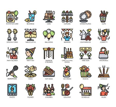 Set of birthday party thin line and pixel perfect icons for any web and app project.