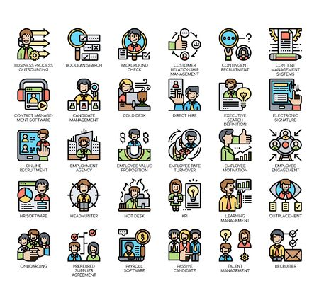 Set of business recruitment thin line and pixel perfect icons for any web and app project.