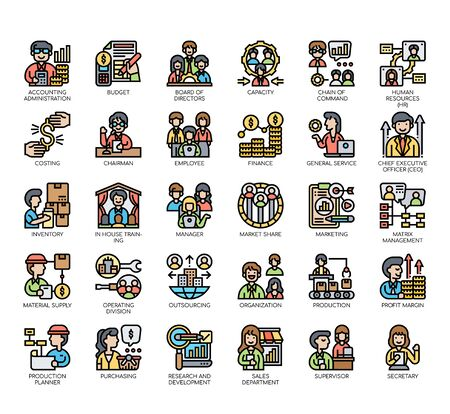Set of company structure thin line and pixel perfect icons for any web and app project.