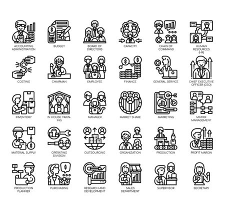 Set of company structure thin line and pixel perfect icons for any web and app project. Vectores