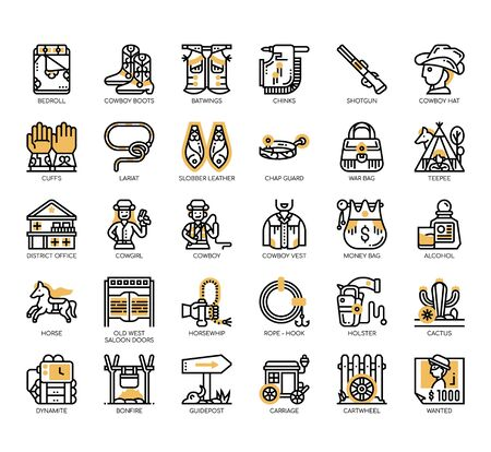 Set of cowboy thin line and pixel perfect icons for any web and app project.