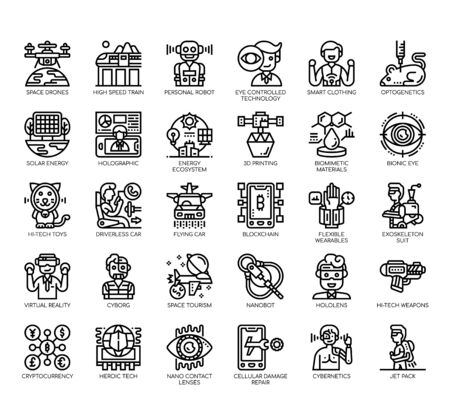 Set of future technology thin line and pixel perfect icons for any web and app project.