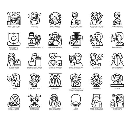 Set of allery thin line and pixel perfect icons for any web and app project.