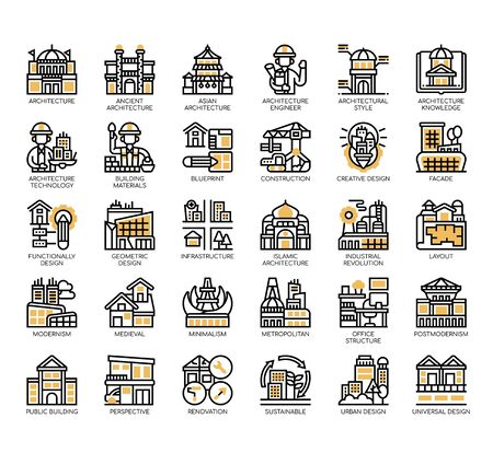 Set of architecture thin line and pixel perfect icons for any web and app project.