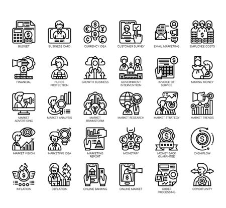 Set of market and economy thin line and pixel perfect icons for any web and app project.