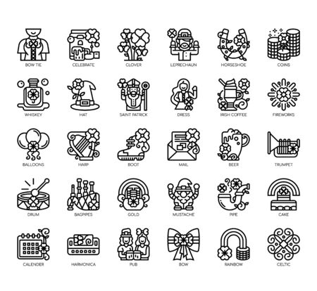 Set of saint patrick day thin line and pixel perfect icons for any web and app project.