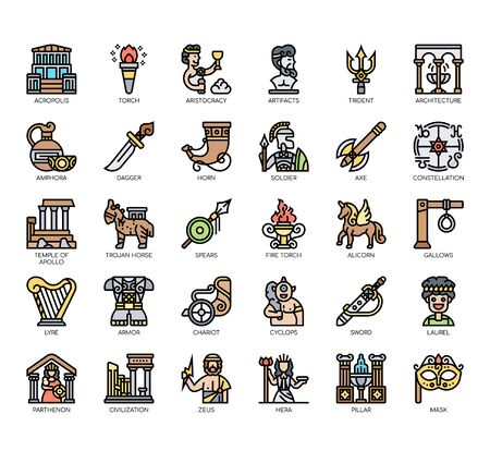 Set of ancient greece thin line and pixel perfect icons for any web and app project.