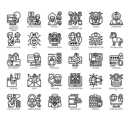 Set of cyber robbery thin line and pixel perfect icons for any web and app project.