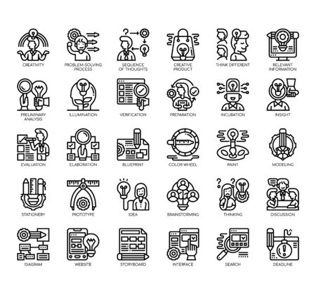 Set of creative process thin line and pixel perfect icons for any web and app project.