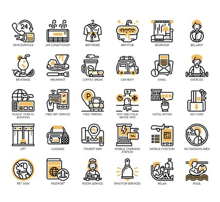 Set of hotel service thin line and pixel perfect icons for any web and app project.