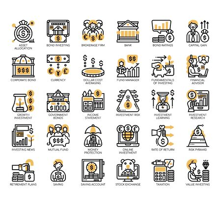 Set of saving and investment thin line and pixel perfect icons for any web and app project.