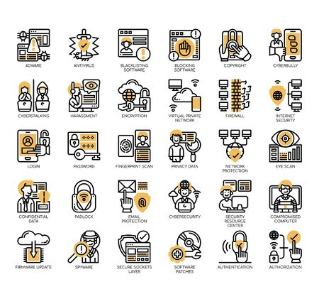 Set of internet security thin line and pixel perfect icons for any web and app project.