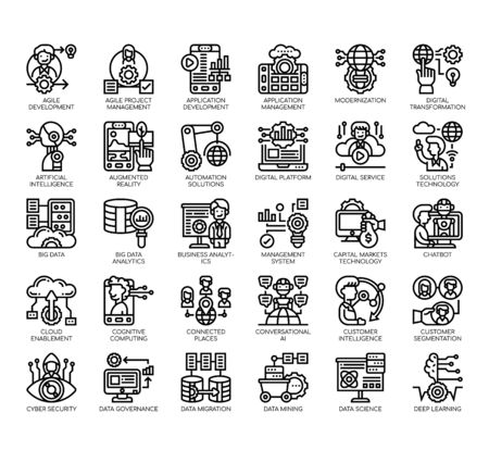 Set of digital economy thin line and pixel perfect icons for any web and app project. Illustration
