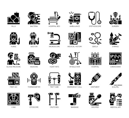 Set of hospital thin line and pixel perfect icons for any web and app project. Illustration