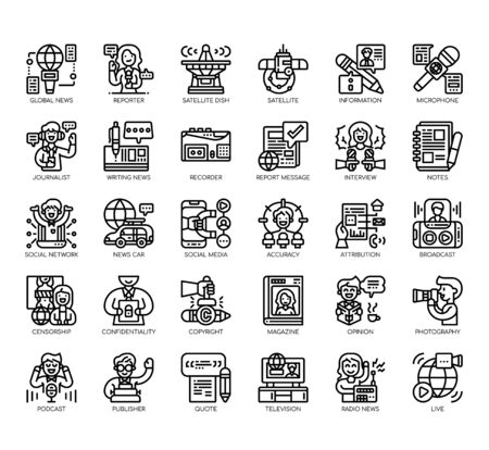 Set of journalist thin line and pixel perfect icons for any web and app project.