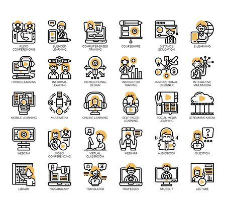 Set of online learning thin line and pixel perfect icons for any web and app project. Illustration
