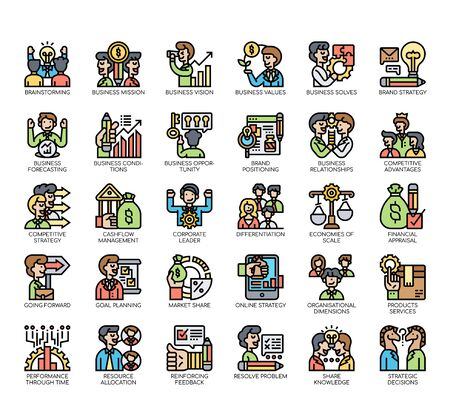 Set of business strategy thin line and pixel perfect icons for any web and app project. Ilustración de vector