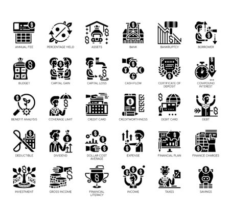 Set of financial literacy thin line and pixel perfect icons for any web and app project.