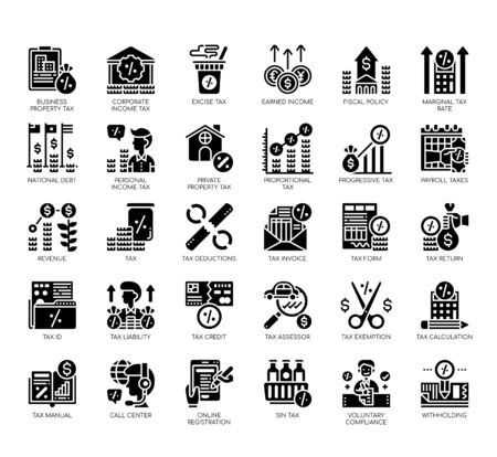 Set of taxation thin line and pixel perfect icons for any web and app project.