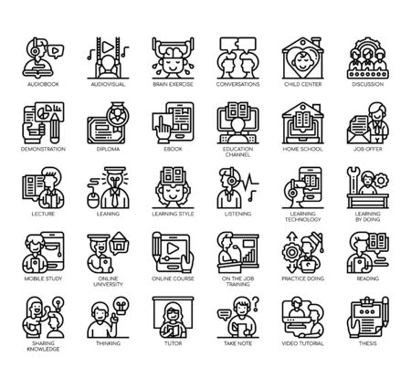 Set of learning thin line and pixel perfect icons for any web and app project.