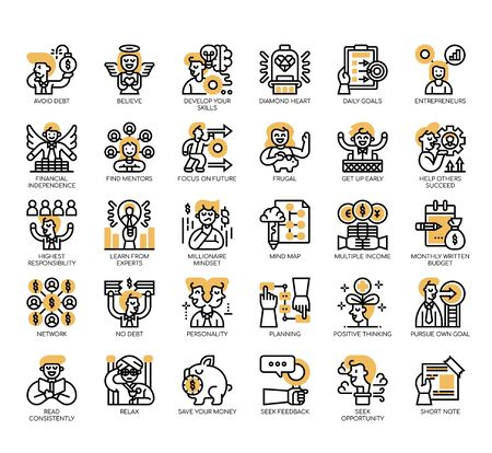 Set of millionaire habit thin line and pixel perfect icons for any web and app project.
