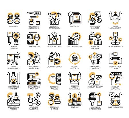 Set of product management thin line and pixel perfect icons for any web and app project.