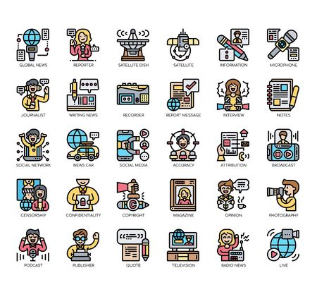 Set of journalist thin line and pixel perfect icons for any web and app project. Ilustracja