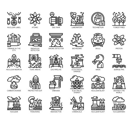 Set of nuclear thin line and pixel perfect icons for any web and app project. Illustration