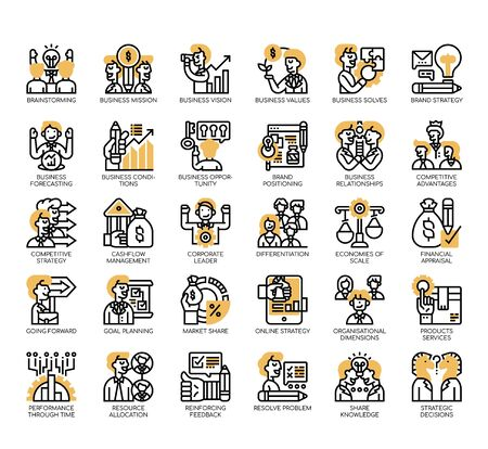 Set of business strategy thin line and pixel perfect icons for any web and app project.