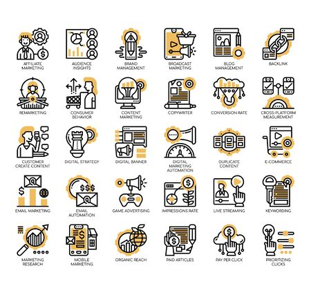 Set of digital marketing thin line and pixel perfect icons for any web and app project.