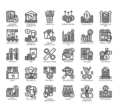Set of taxation thin line and pixel perfect icons for any web and app project. Vektorgrafik
