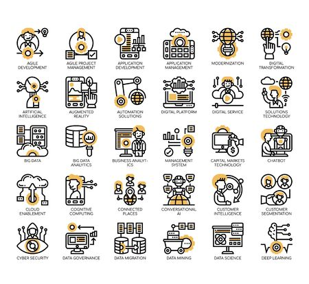 Set of digital economy thin line and pixel perfect icons for any web and app project. Vecteurs