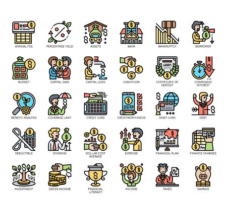 Set of financial literacy thin line and pixel perfect icons for any web and app project. Vektorgrafik