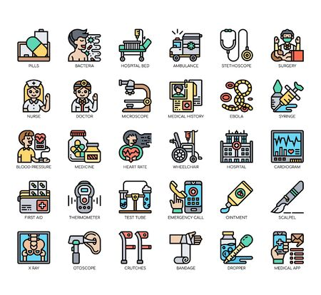 Set of hospital thin line and pixel perfect icons for any web and app project.