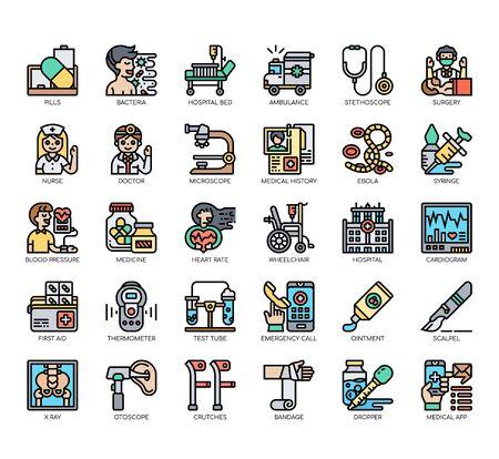 Ensemble d'icônes de ligne fine et de pixels parfaits pour tout projet Web et d'application.