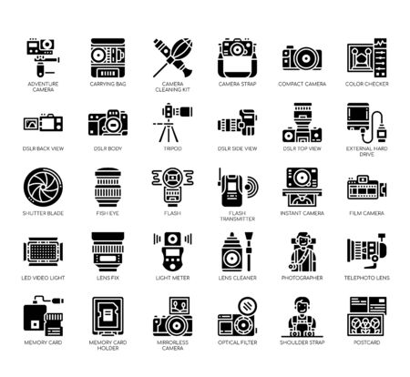 Set of photographhy thin line and pixel perfect icons for any web and app project.
