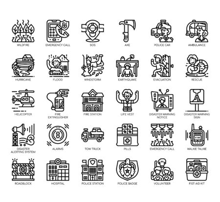 Set of emergency thin line and pixel perfect icons for any web and app project. Illustration