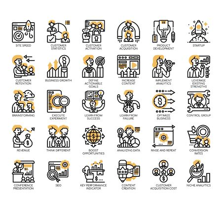 Set of growth hacking thin line and pixel perfect icons for any web and app project.