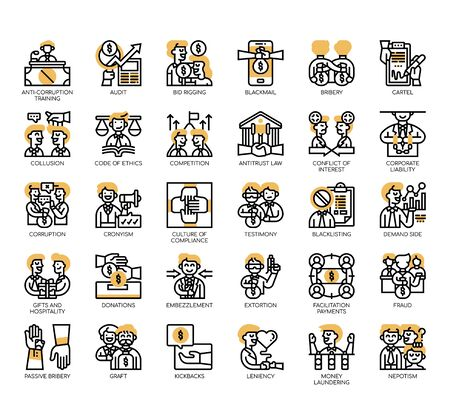 Set of business corruption thin line and pixel perfect icons for any web and app project.
