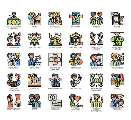 Set of business corruption thin line and pixel perfect icons for any web and app project. Ilustracje wektorowe