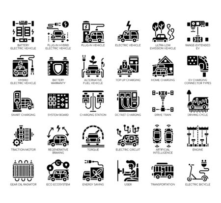 Set of electric vehicle thin line and pixel perfect icons for any web and app project.