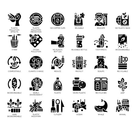 Set of Plastic pollution thin line and pixel perfect icons for any web and app project.