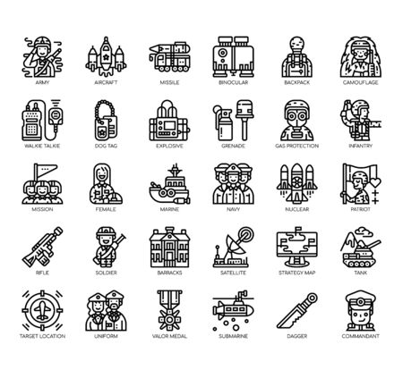Set of military thin line and pixel perfect icons for any web and app project.